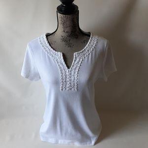 Karen Scott women's white short sleeve top